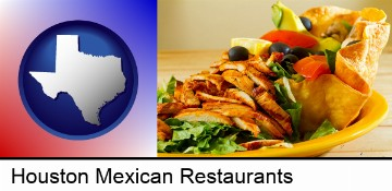 a Mexican restaurant salad in Houston, TX