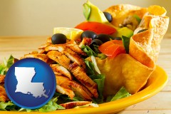 louisiana map icon and a Mexican restaurant salad