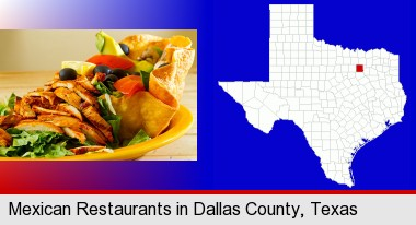 a Mexican restaurant salad; Dallas County highlighted in red on a map