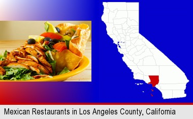 a Mexican restaurant salad; Los Angeles County highlighted in red on a map