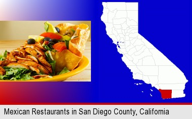 a Mexican restaurant salad; San Diego County highlighted in red on a map